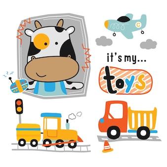 Desenho animado animal engraçado de vaca e brinquedinhos