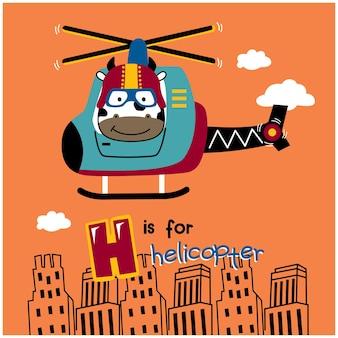 Desenho animado animal engraçado de vaca e helicóptero
