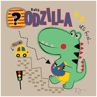 Desenho animado animal engraçado do godzilla e do carro de brinquedo