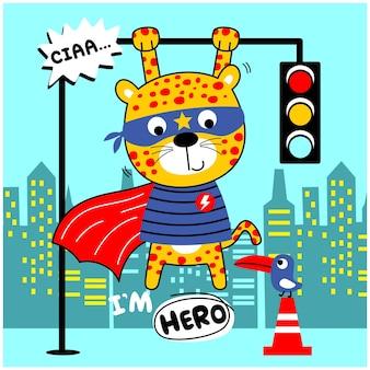 Desenho animado animal engraçado do leopardo, o super-herói