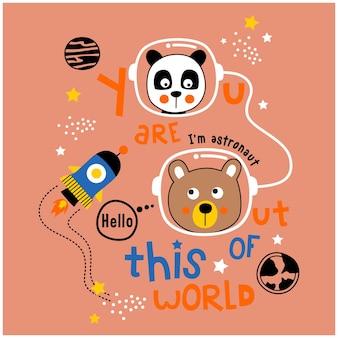Desenho animado animal engraçado do panda e do urso no espaço