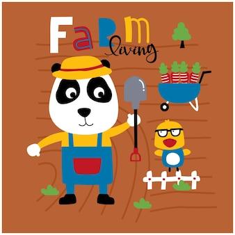 Desenho animado animal engraçado do panda na fazenda