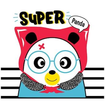 Desenho animado animal engraçado do panda, o super-herói