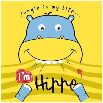 Desenho animado animal engraçado hipopótamo inteligente