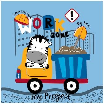 Desenho animado animal engraçado zebra no caminhão