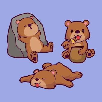 Desenho animado animal grizzly encostado na rocha, come mel e dorme.