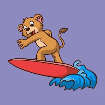 Desenho animado animal infantil leão surfando logotipo do mascote