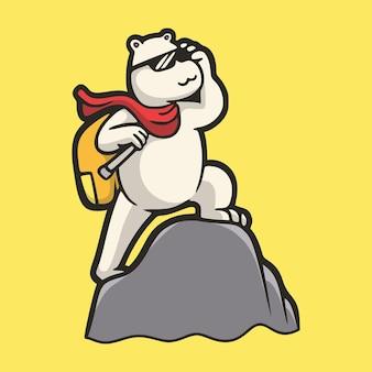 Desenho animado animal urso polar escalando o logotipo do mascote fofo