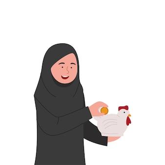 Desenho animado árabe hijab girl saving money