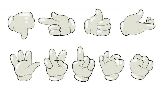 Desenho animado as mãos no conjunto de luvas