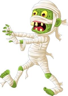Desenho animado assustador de múmia de halloween caminhando