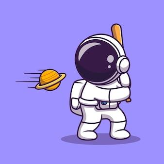 Desenho animado astronauta fofo bate na bola do planeta com taco de beisebol