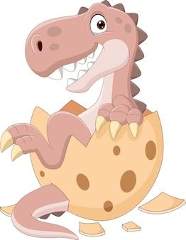 Desenho animado bebê dinossauro saindo de ovo