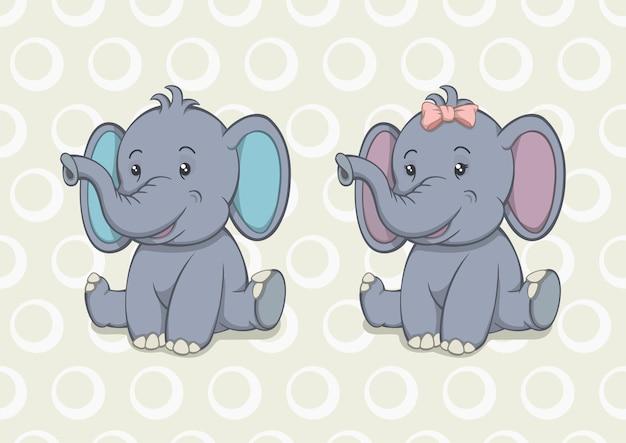 Desenho animado bebê elefante menino e menina