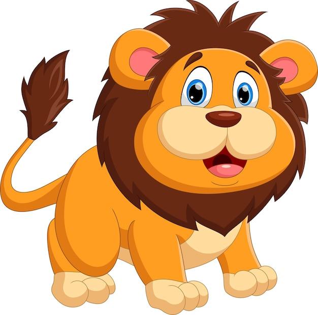 Desenho animado bebê leão posando com um sorriso