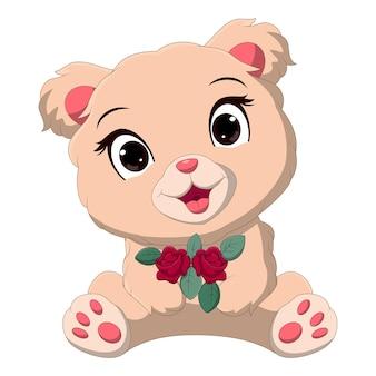 Desenho animado bebê urso segurando flores