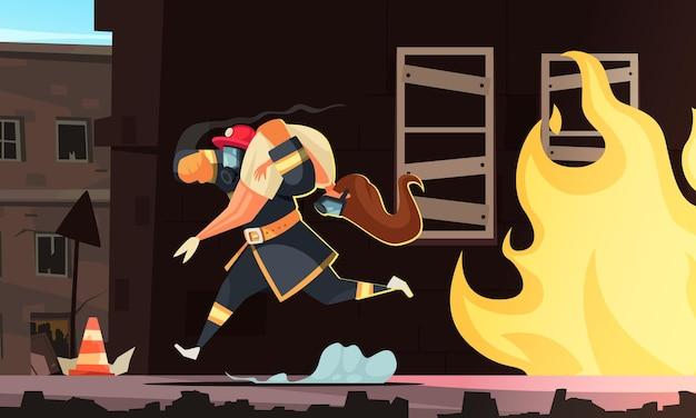 Desenho animado bombeiro carregando mulher nos braços, salvando-a do fogo.