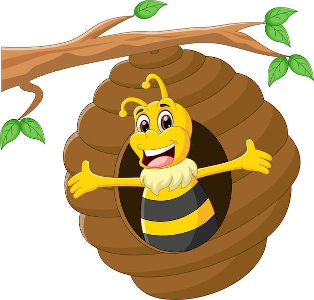 Desenho animado bonito abelha acenando na colmeia