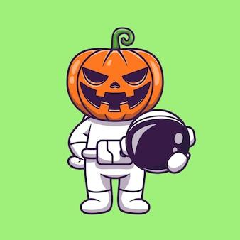 Desenho animado bonito astronauta com abóbora de halloween segurando capacete