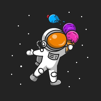 Desenho animado bonito astronauta segurando o cone de sorvete