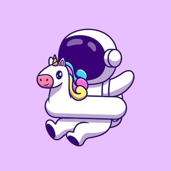 Desenho animado bonito astronauta usando pneus de natação de unicórnio