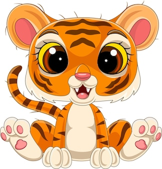 Desenho animado bonito bebê tigre sentado