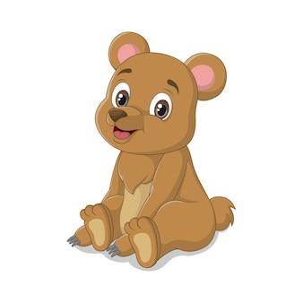 Desenho animado bonito bebê urso sentado
