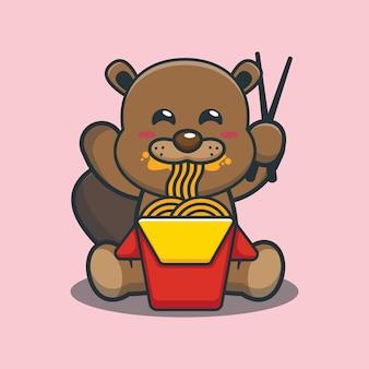 Desenho animado bonito castor comendo macarrão