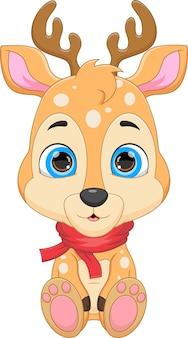 Desenho animado bonito cervo posando com lenço