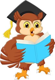Desenho animado bonito coruja lendo um livro