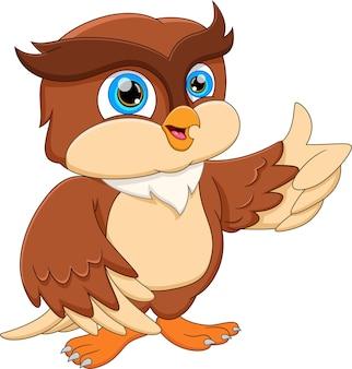 Desenho animado bonito coruja posando e polegar para cima
