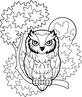 Desenho animado bonito coruja