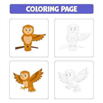 Desenho animado bonito corujas, livro para colorir