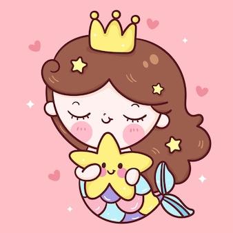 Desenho animado bonito da sereia princesa abraço peixe estrela ilustração kawaii