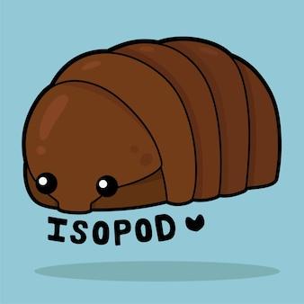 Desenho animado bonito da vida marinha com o vocabulário isopod