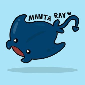 Desenho animado bonito da vida marinha com o vocabulário manta ray