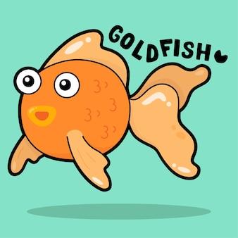 Desenho animado bonito da vida marinha com vocabulário goldfish