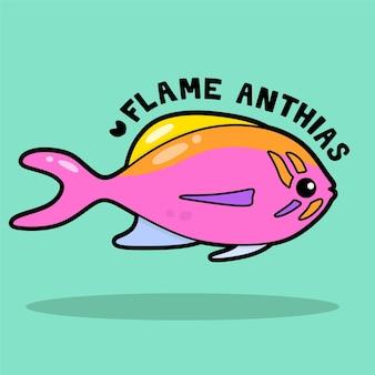 Desenho animado bonito da vida marinha com vocabulary flame anthias