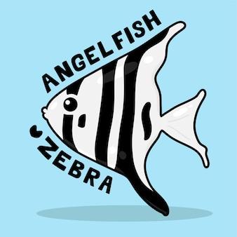 Desenho animado bonito da vida marinha com vocabulary zebra angelfish