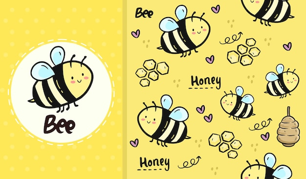 Desenho animado bonito de abelha e mel