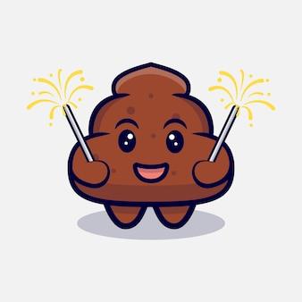 Desenho animado bonito de cocô jogando fogos de artifício
