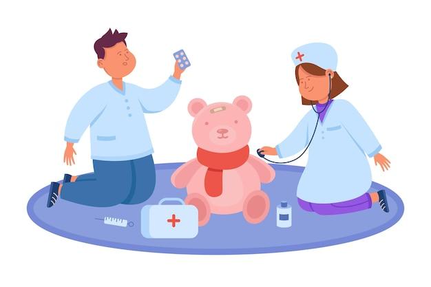 Desenho animado bonito de menino e menina brincando de médico