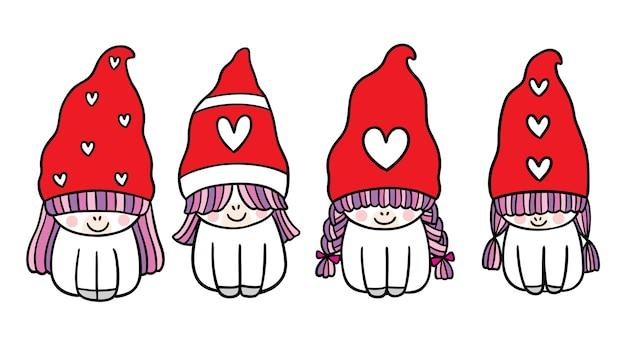 Desenho animado bonito de natal e feliz ano novo unicórnio e vetor de chapéu de gnomo