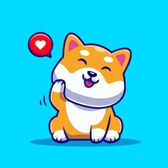 Desenho animado bonito do cão shiba inu a acenar com a mão