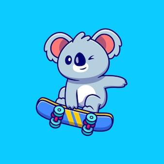 Desenho animado bonito do coala brincando de skate