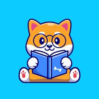 Desenho animado bonito do livro de leitura do cão shiba inu