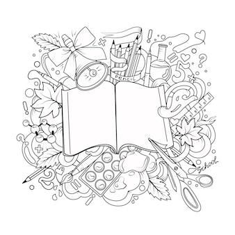 Desenho animado bonito doodle escola de fundo vector um esboço detalhado com um grande número livro de colorir