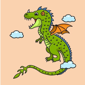 Desenho animado bonito dragão verde voando ilustração