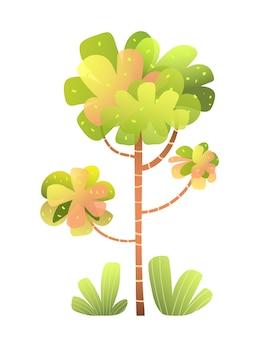 Desenho animado bonito em aquarela de árvore e arbusto para crianças. árvore estilizada imaginária