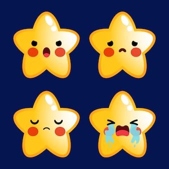 Desenho animado bonito estrelas emoticon avatar rosto emoções negativas conjunto estoque